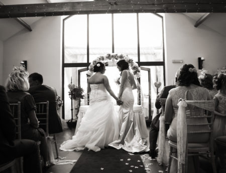 Beauitful Brides in the ceremony room. 'You are now bride and bride'